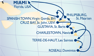 Voyage Map Azamara Quest West Indies